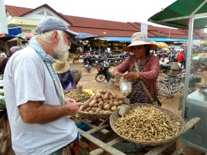 Arriving with Dani at the market in Siem Reap, Cambodia