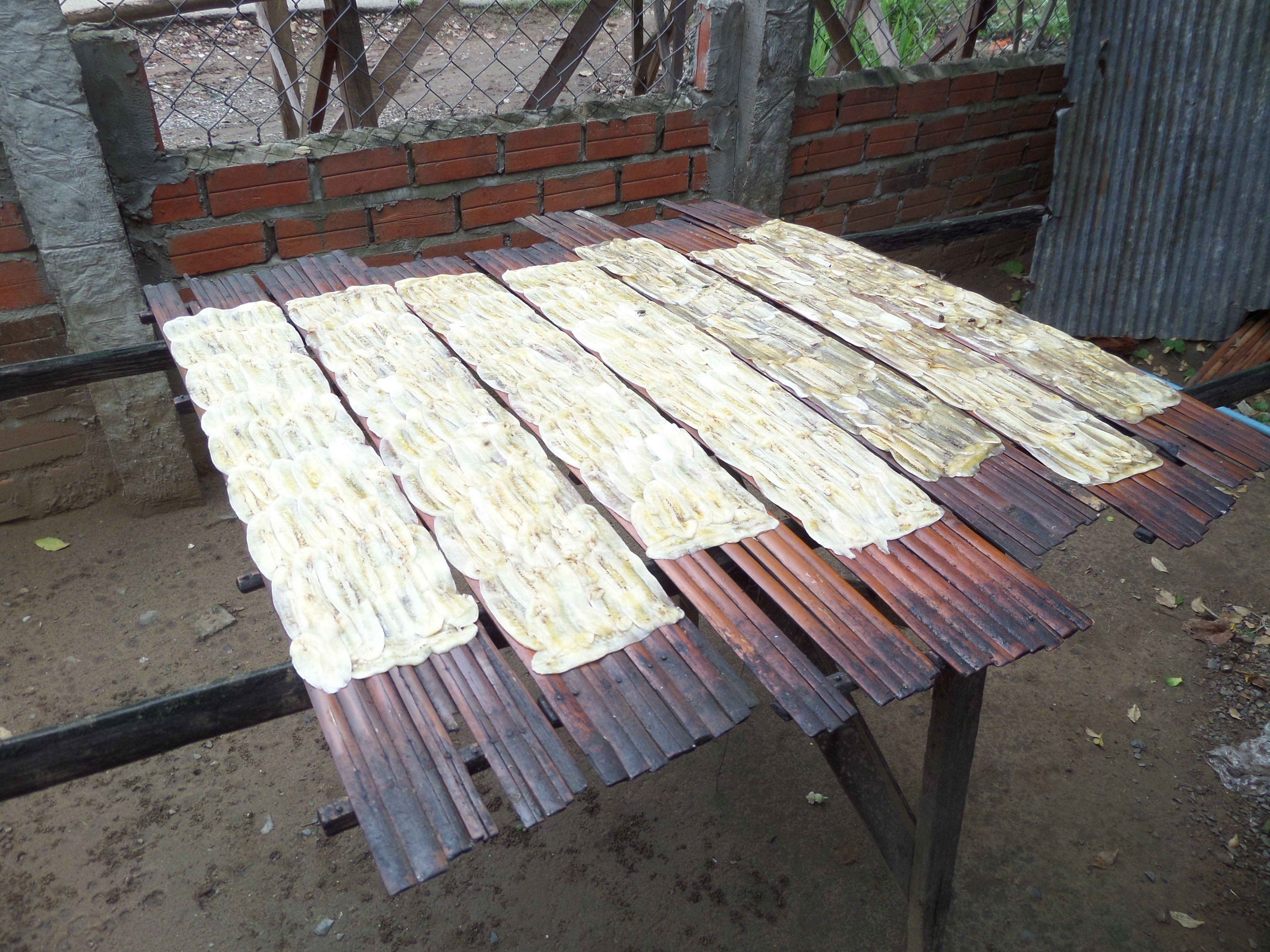 Making dried bananas, Battambang Cambodia